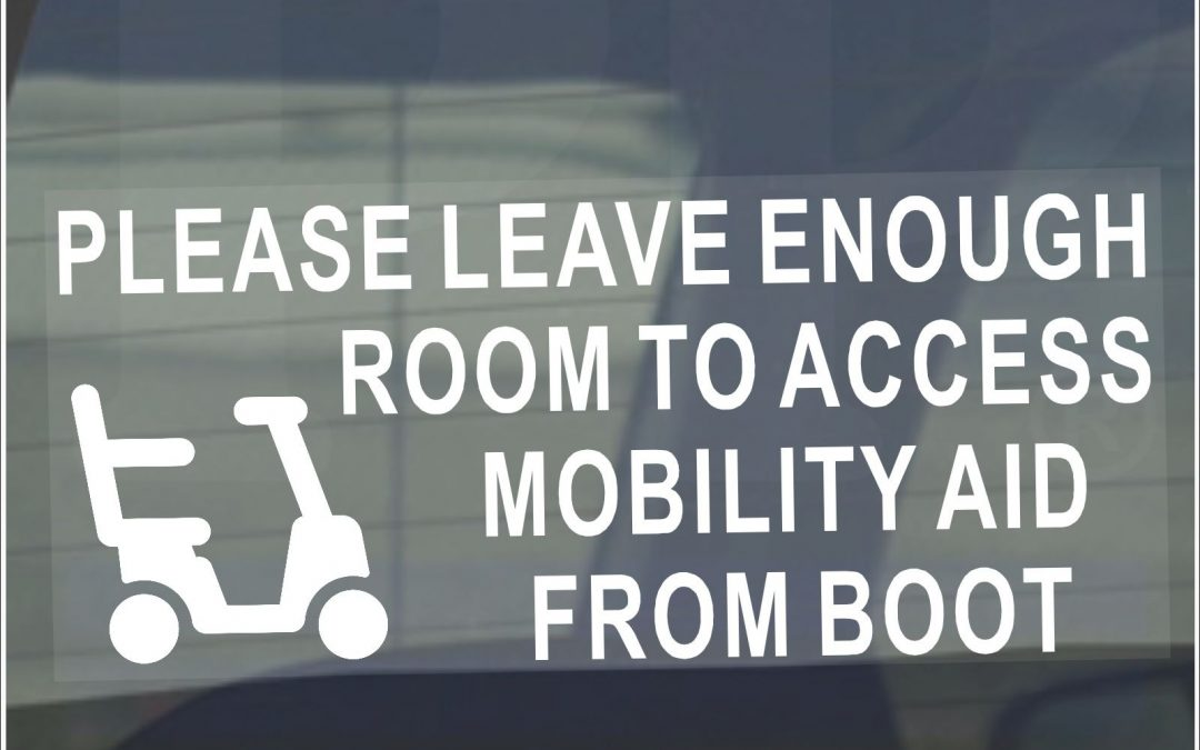 Please Allow Enough Room to Access Mobility Aid From Boot-Disabled Scooter Sign
